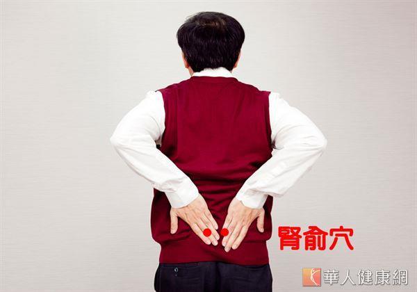 多刺激位於人體腰後背,脊椎兩側的腎俞穴,有助釋放儲存於腎臟中的能量,使氣血暢通,達到暖身溫體效果。(攝影/江旻駿)
