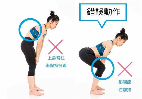 硬舉時,上身脊柱未保持挺直或上身趴下時膝關節往前推動,都不是正確姿勢。(圖片/三采文化提供)