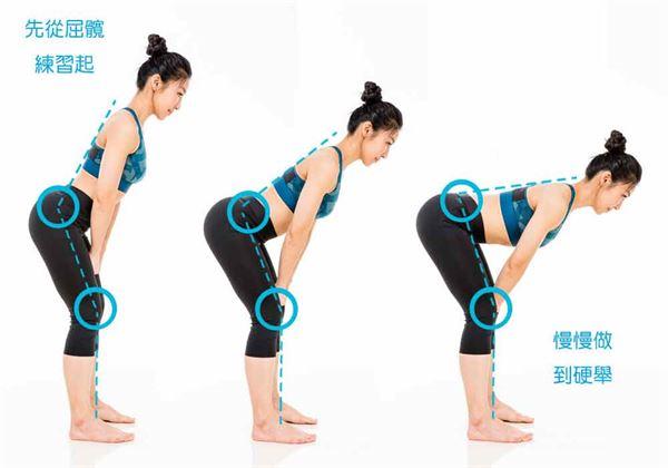 如果還是抓不到訣竅,建議先不用急著負重操作硬舉。可試著先學習類似動作;例如,髖屈動作就是啟動臀部與核心,建構運動能力的基礎!(圖片/三采文化提供)