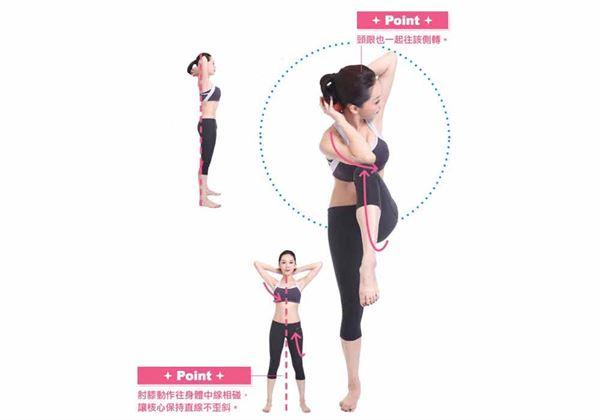 挺胸收腹站立,雙腳打開與肩同寬,雙手握一顆蘋果置於頸後;雙肘向外張開,於肩膀上呈水平、不要向內拱。深吸氣。(圖片/蘋果屋出版社提供)