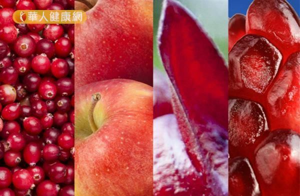 漿果類的食材,因含有豐富的植物多酚—「鞣酸萃取物」,其優異的抗氧化能力,不只抗曬有功,包括減少運動員的疲勞酸痛感,都很有幫助。代表食物例如:紅莓、黑莓、紅石榴、蔓越莓。