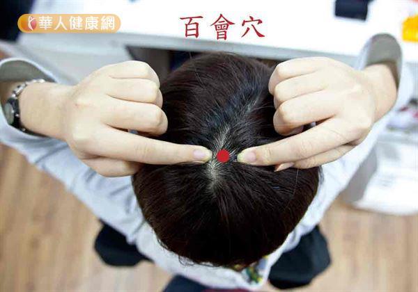 百會穴(如圖)位於二耳聯線和鼻聯缐的中點,可改善老年癡呆。
