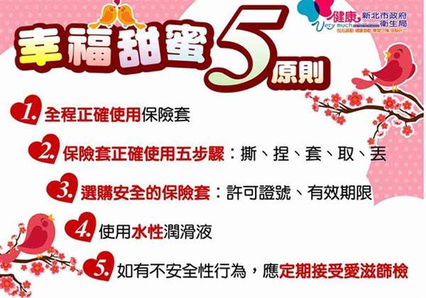 新北衛生局公布幸福甜蜜5原則,全程正確使用保險套。(圖片提供/新北市衛生局)