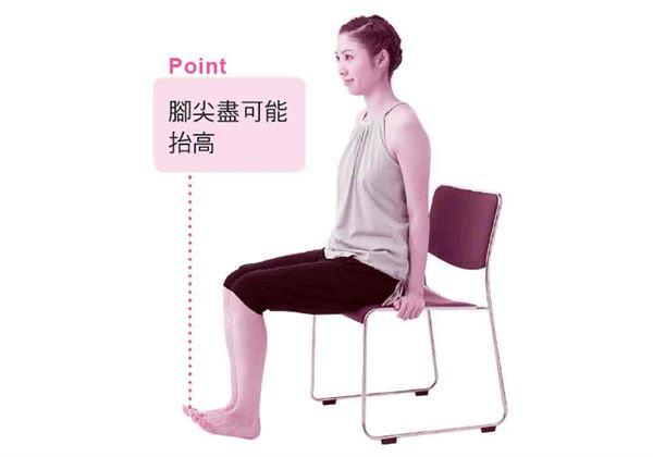 腳跟踩在地板上,並盡可能把腳尖往上抬。然後回到1的姿勢,再重複做幾次。(圖片/采實文化提供)