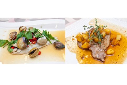 焦糖蘋果啤酒豬排(右) + 檸檬剁椒紙蒸魚。料理示範:謝凱婷。(攝影/黃志文)