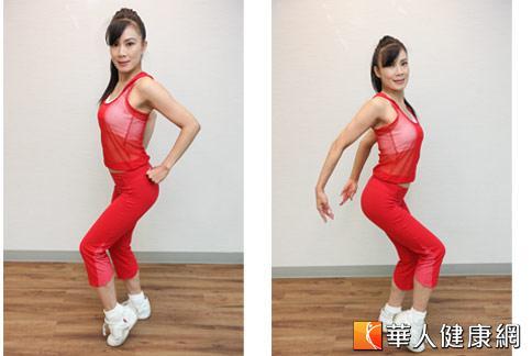 「骨盆操」簡單易學,提臀同時,雙手由後背往前張開,反覆來回。示範:陳鈴老師。(攝影/黃志文)