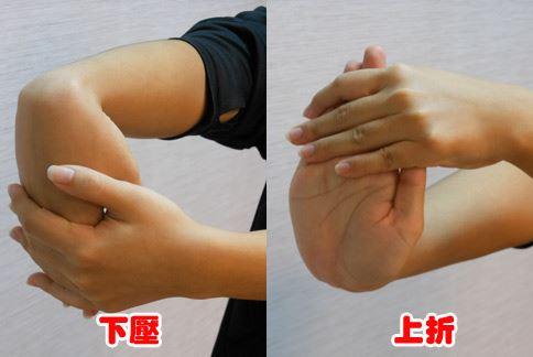 示範動作:拉筋解「腕」傷。(攝影/駱慧雯)