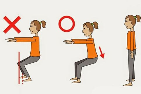 強化下半身—深蹲站姿,雙腳打開與肩同寬,手臂向前伸直。(圖片提供/39建康網)