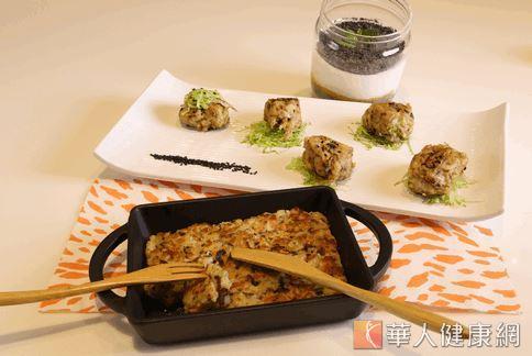 營養學博士與廚師合作,以高鈣的板豆腐、綠豆芽及黑芝麻,設計出適合年長者吃的高鈣餐點。(攝影/洪毓琪)