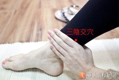 適度揉按三陰交穴有助促進血液循環、消除疲勞。