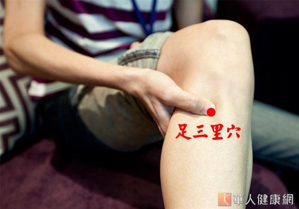 足三里穴穴位於膝蓋外側下方一橫指處,按摩足三里穴,可以防治多種疾病,起到調節機體免疫力。