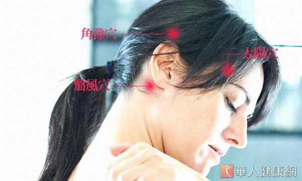 沿著翳風穴、太陽穴和角孫穴做加強按摩,能疏肝理氣、暢通膽經。