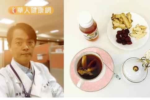 辛重毅中醫師(右)強調,手腳冰冷多屬需寒體質,可利用能量茶飲緩解。(圖片提供/義大醫院中醫部)