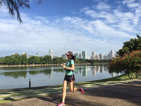 張佩蓉營養師常在河濱慢跑當作日常練習,順便欣賞沿途風景。(圖片/張佩蓉營養師提供)