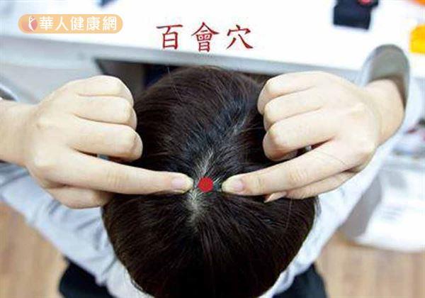 百會穴位置。(圖片提供/華人健康網)