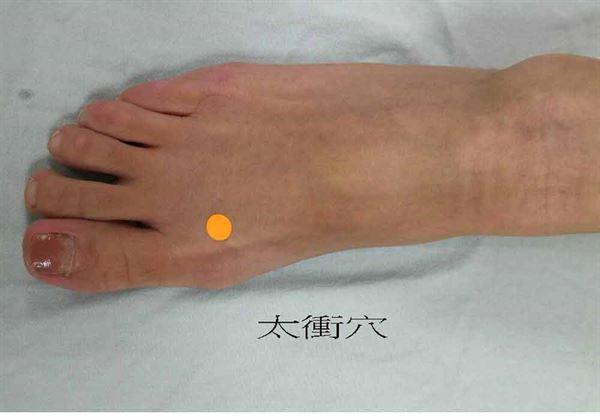 太衝穴(圖一)腳大拇趾和第二腳趾間下的腳掌凹陷處。(圖片提供/台南市立醫院)