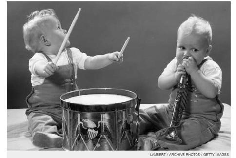 加拿大學者發現,讓學齡前的寶寶和他人一起「玩」音樂,長大後不僅不易走歪路,也能培養好性情好人緣。(圖片/取材自美國《Time Magazine》)