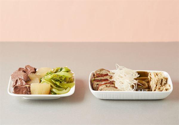 滷味攤的推薦組合是,冬粉+鴨血+黑豆干+青菜,譬如:金針菇、白蘿蔔、海帶等...。
