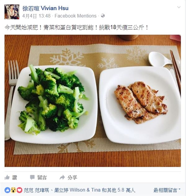 趙函穎營養師指出,對於吃到飽每個人定義不同,如果肆無忌憚吃一堆肉,仍然會有油脂跟蛋白質攝取過量變胖的風險。建議晚餐蛋白質的份量還是需要定量,依照每個人的需求設計較佳。(圖片/取材自徐若瑄 Vivian Hsu臉書)