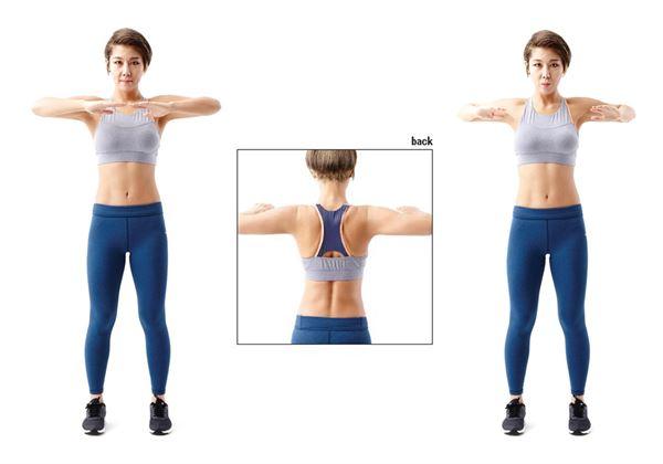 站姿,雙手手肘彎曲,舉至肩膀高度、胸部上方的位置。雙手指尖可輕輕交疊或相觸。(圖片/采實文化提供)