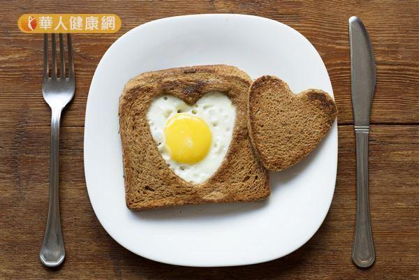 碳水化合物食物可以選擇吐司,蛋白質食物則可以選擇雞蛋。